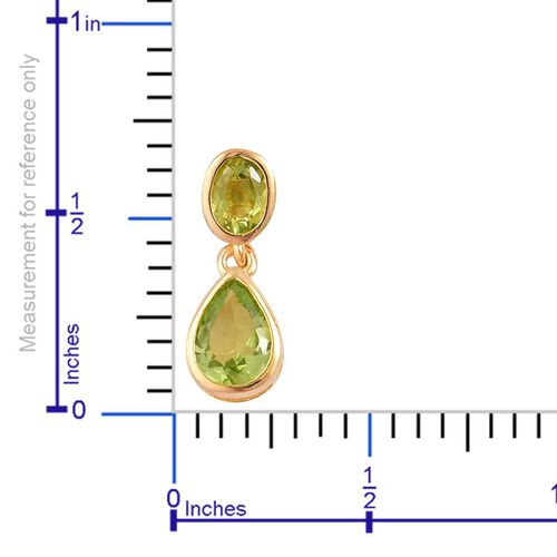 AA Hebei Peridot (Pear) Earrings (with Push Back) in Yellow Gold Overlay Sterling Silver 2.400 Ct.