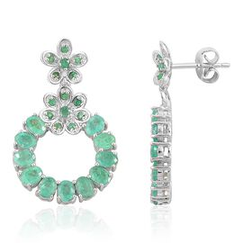 Brazilian Emerald (Ovl) Earrings (with Push Back) in Platinum Overlay Sterling Silver 4.385 Ct.