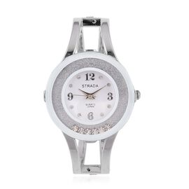Designer Inspired Freely Moving AAA Austrian Crystal Bangle Watch in Silver Tone - White