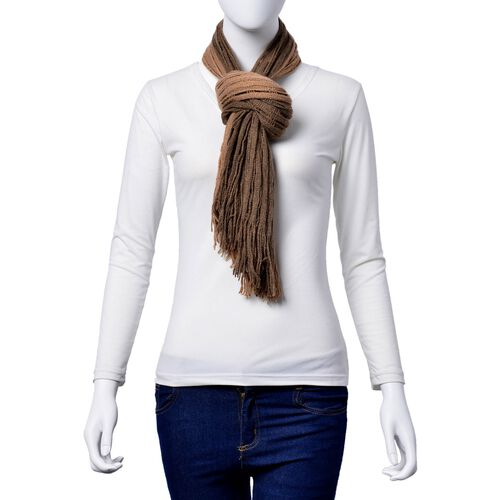 Designer Inspired Double Layered Chocolate Colour Scarf (Size 160x20 Cm)