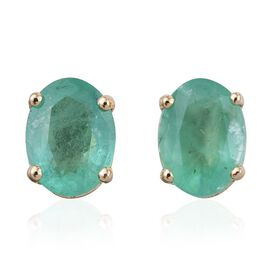 14K Y Gold Boyaca Colombian Emerald (Ovl) Stud Earrings (with Push Back) 2.400 Ct.