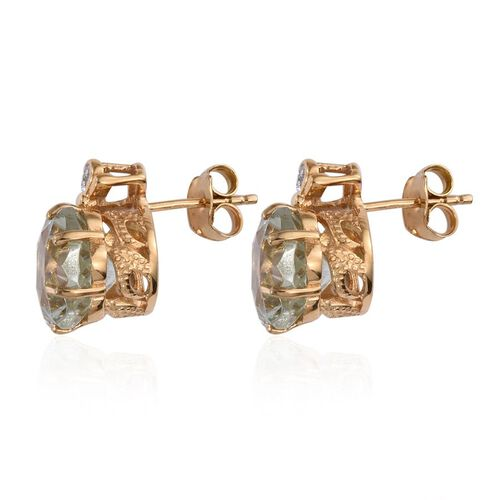 GP Green Amethyst, Natural Cambodian Zircon and Kanchanaburi Blue Sapphire Stud Earrings (with Push Back) in 14K Gold Overlay Sterling Silver 8.750 Ct.