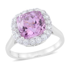 ILIANA 18K W Gold AAAA Brazilian Kunzite (Cush 6.25 Ct), Diamond (SI/G-H) Ring 7.000 Ct.