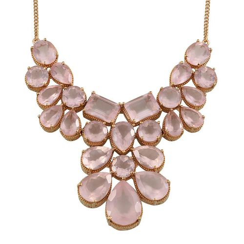 Rose Quartz (Pear 14.00 Ct) Necklace (Size 18) in 14K Gold Overlay Sterling Silver 112.000 Ct.