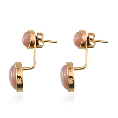 Morogoro Peach Sunstone (Rnd) Earrings (with Push Back) in 14K Gold Overlay Sterling Silver 10.000 Ct.