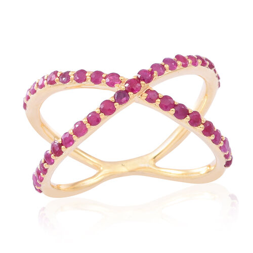Burmese Ruby (Rnd) Criss Cross Ring in 14K Gold Overlay Sterling Silver 1.250 Ct.