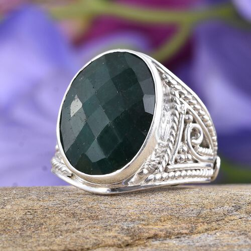Enhanced Emerald (Ovl) Ring in Sterling Silver 17.800 Ct.