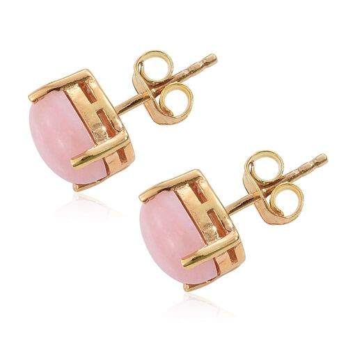 Natural Peruvian Pink Opal (Ovl) Stud Earrings (with Push Back) in 14K Gold Overlay Sterling Silver 2.750 Ct.