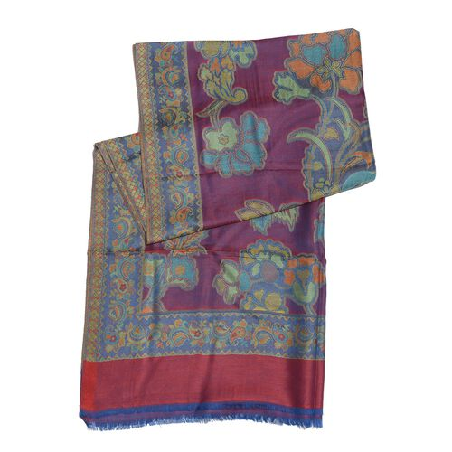 100% Superfine Modal Multi Colour Floral, Leaves and Paisley Pattern Red and Purple Colour Jacquard Scarf (Size 190x70 Cm)