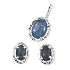 Australian Boulder Opal (Ovl 0.75 Ct) Solitaire Pendant and Stud Earrings (with Push Back) in Platinum Overlay Sterling Silver 1.250 Ct.