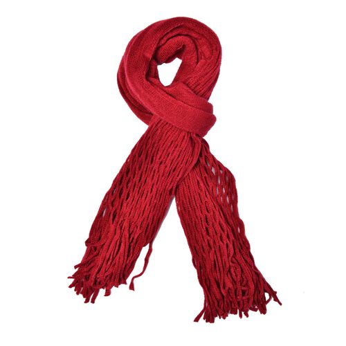 Net Design Knitted Red Colour Scarf with Fringes (Size 160x30 Cm)