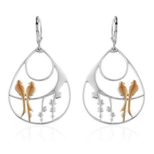 Yellow Gold and Platinum Overlay Sterling Silver Birds Lever Back Earrings, Silver wt 8.00 Gms.