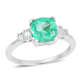 ILIANA 18K W Gold Boyaca Colombian Emerald (Cush 1.75 Ct), Diamond Ring 2.000 Ct.