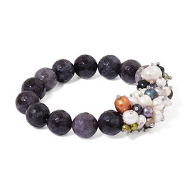 Grey Agate and Fresh Water Multi Colour Pearl Stretchable Bracelet (Size 7.5) 215.000 Ct.