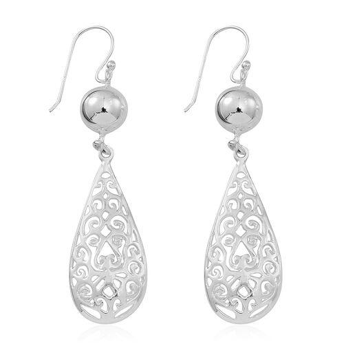 Designer Inspired Sterling Silver Filigree Tear Drop Hook Earrings, Silver wt 4.39 Gms.