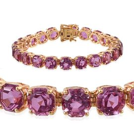 Kunzite Colour Quartz (Octillion Cut) Bracelet (Size 7.5) in 14K Gold Overlay Sterling Silver 54.500 Ct.
