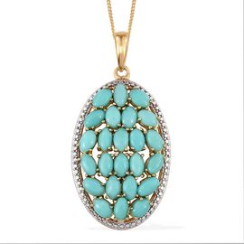 Sonoran Turquoise (Ovl) Cluster Pendant With Chain in 14K Gold Overlay Sterling Silver 5.750 Ct.