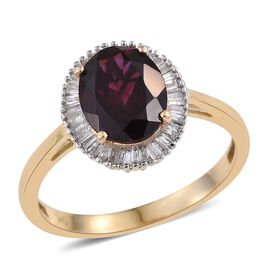 9K Y Gold AAA Odisha Rhodolite Garnet (Ovl 3.25 Ct), Diamond (I3/G-H) Ring 3.500 Ct.