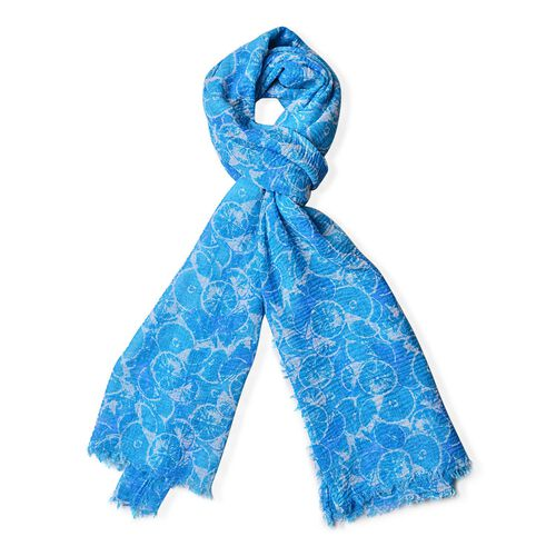 Summer Collection-Blue Colour Scarf with Cream Colour Section Pattern (Size 180x90 Cm)