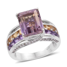 Bolivian Ametrine (Oct 4.40 Ct), Citrine, Amethyst and White Zircon Ring in Platinum Overlay Sterling Silver 6.750 Ct.