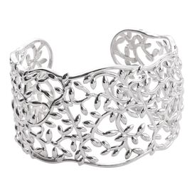 ION Plated Platinum Bond Leaves Cuff Bangle (Size 7.5)