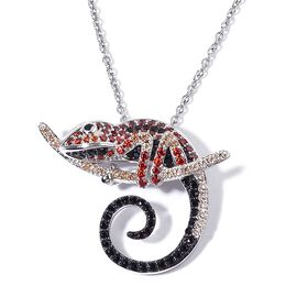 AAA Simulated Multi Colour Diamond Lizard Pendant With Chain in Black Tone with Stainless Steel