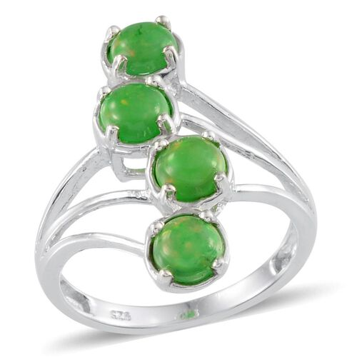 Green Ethiopian Opal (Rnd) Ring in Platinum Overlay Sterling Silver 1.400 Ct.