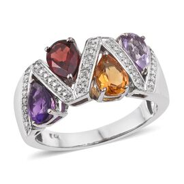 Mozambique Garnet (Pear), Amethyst, Citrine, Rose De France Amethyst and Diamond Ring in ION Plated Platinum Bond 2.760 Ct.