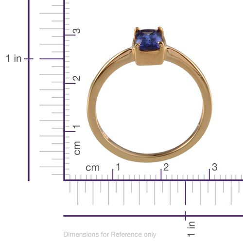 Tanzanite (Cush) Solitaire Ring in 14K Gold Overlay Sterling Silver 0.750 Ct.