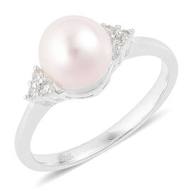 Japanese Akoya Pearl (Rnd 7.5-8mm), White Zircon Ring in Platinum Overlay Sterling Silver