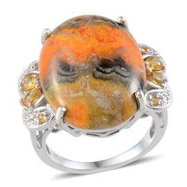 Bumble Bee Jasper (Ovl 17.00 Ct), Yellow Sapphire Ring in Platinum Overlay Sterling Silver 17.850 Ct.