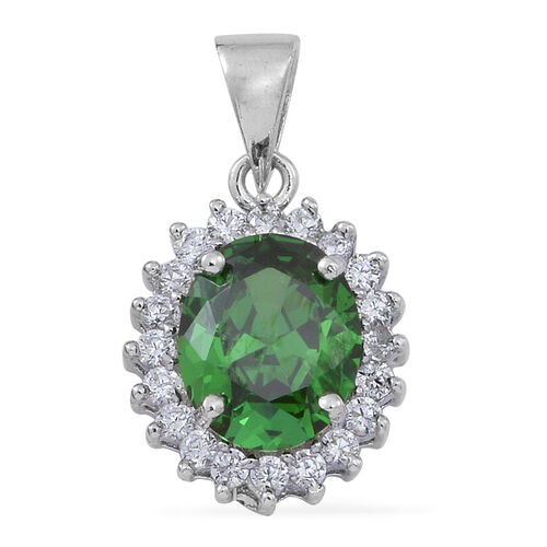 AAA Simulated Emerald (Ovl), Simulated White Diamond Pendant in Rhodium Plated Sterling Silver