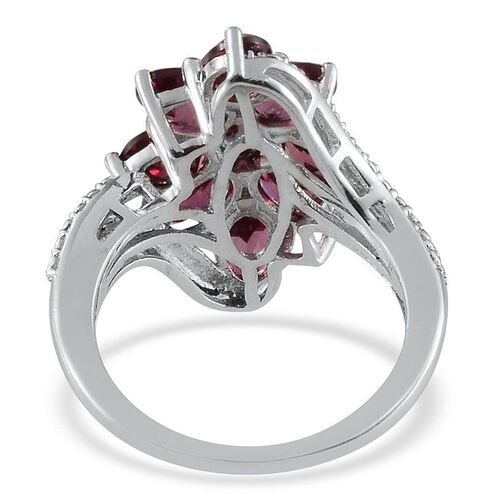Orissa Rhodolite Garnet (Ovl) Ring in Platinum Overlay Sterling Silver 5.000 Ct.