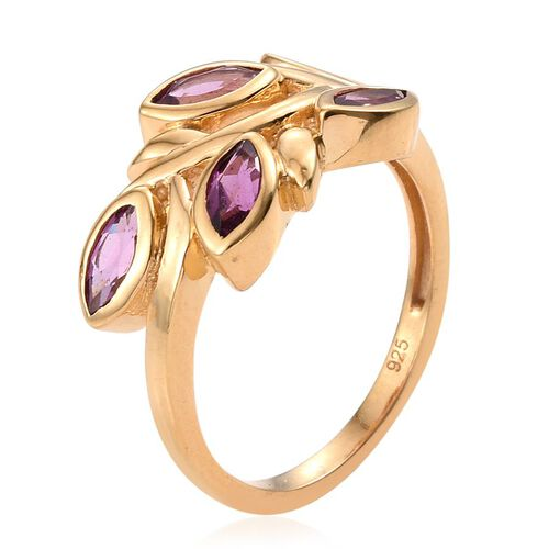 Rare Mozambique Grape Colour Garnet (Mrq) 5 Stone Leaves Ring in 14K Gold Overlay Sterling Silver 1.500 Ct.