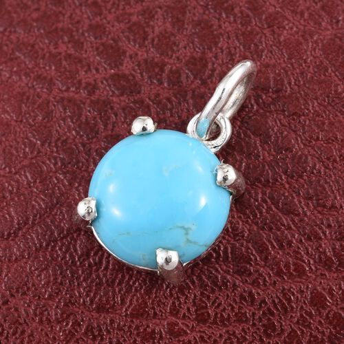 Kingman Turquoise (Rnd) Solitaire Pendant in Sterling Silver 2.000 Ct.
