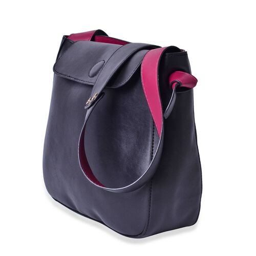 Penny Black and Burgundy Colour Shoulder Bag  (Size 27x24x8 Cm)