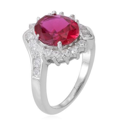 ELANZA AAA Simulated Rubelite (Ovl), Simulated White Diamond Ring in Rhodium Plated Sterling Silver