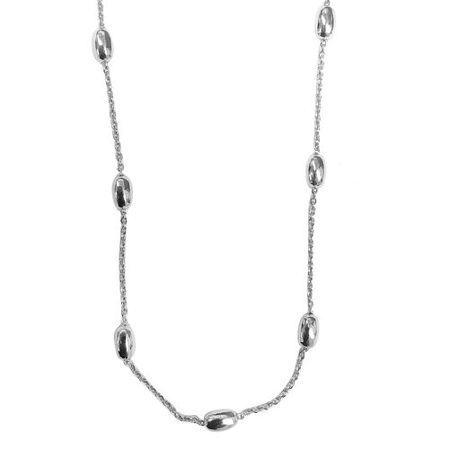Designer Inspired Rhodium Plated Sterling Silver Oval Beads Station Necklace (Size 30), Silver wt 9.80 Gms.