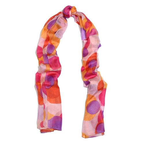 100% Mulberry Silk Light Pink, Red and Multi Colour Overlapped Circle Pattern Scarf (Size 180x100 Cm)
