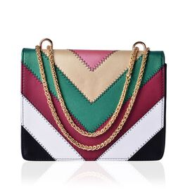 Black and Multi Colour V Pattern Crossbody Bag with Chain Strap (Size 24x19x5.5 Cm)