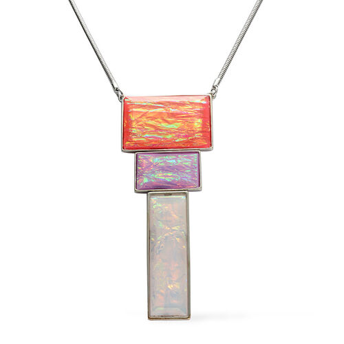 Simulated Multi Colour Stone Necklace (Size 18) in Silver Tone