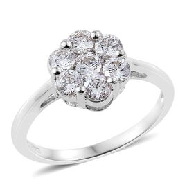 J Francis - Platinum Overlay Sterling Silver (Rnd) 7 Stone Floral Ring Made with SWAROVSKI ZIRCONIA