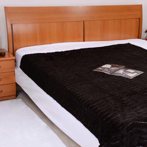 Faux Fur Dark Chocolate Colour Zig Zag Pattern Double Sided Blanket (Size 195x150 Cm)