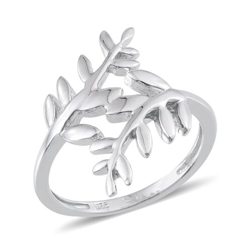 Platinum Overlay Sterling Silver Olive Leaves Crossover Ring, Silver wt 4.18 Gms.