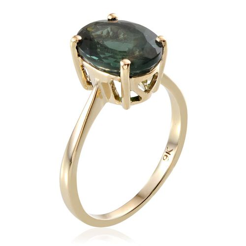 9K Y Gold Ocean Blue Apatite (Ovl) Solitaire Ring 5.250 Ct.