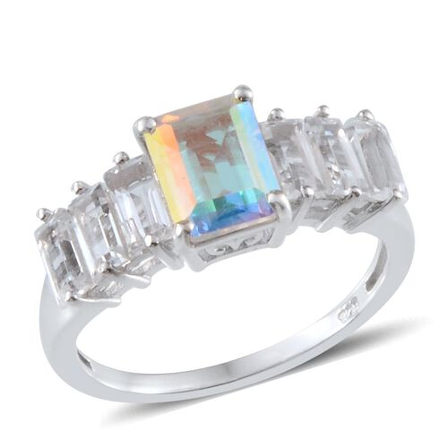 Mercury Mystic Topaz (Oct 1.75 Ct), White Topaz Ring in Platinum Overlay Sterling Silver 3.500 Ct.