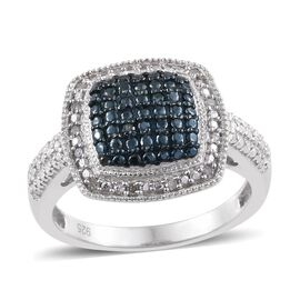 Blue Diamond (Rnd), White Diamond Ring in Platinum Overlay Sterling Silver 0.100 Ct.