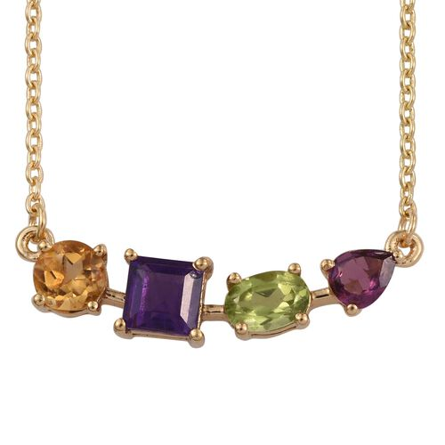 Amethyst (Sqr), Citrine, Hebei Peridot and Rhodolite Garnet Necklace (Size 18) in 14K Gold Overlay Sterling Silver 1.750 Ct.