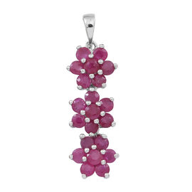 Burmese Ruby (Rnd) Triple Floral Pendant in Rhodium Plated Sterling Silver 2.000 Ct.