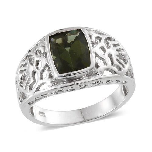Bohemian Moldavite (Cush) Ring in Platinum Overlay Sterling Silver 2.000 Ct.